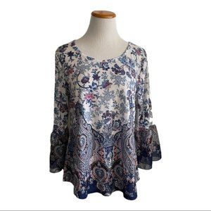 Croft & Barrow Paisley Floral Print Blouse